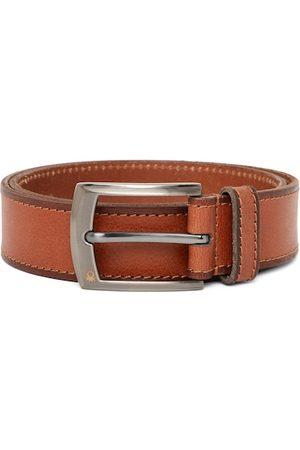 Benetton Men Tan Brown Textured Leather Belt