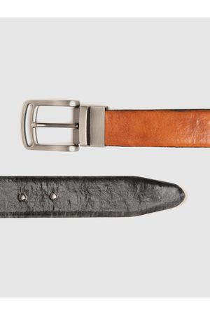 Highlander Men Black & Tan Brown Solid Reversible Formal Belt