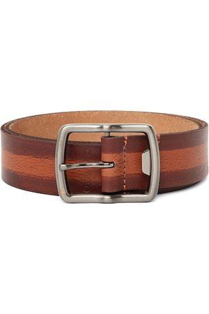 Benetton Men Tan Brown Striped Leather Belt