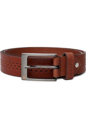 Benetton Men Brown Textured Leather Belt