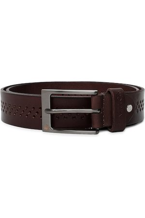 Benetton Men Coffee Brown Perforated Leather Belt
