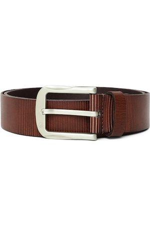 Benetton Men Coffee Brown Striped Leather Belt