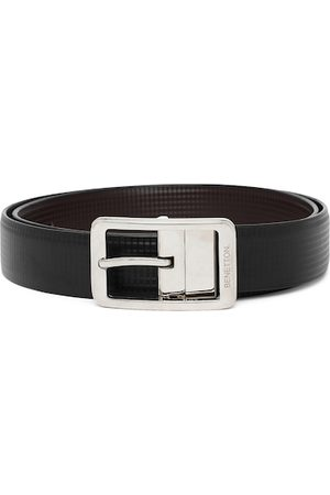 Benetton Men Black & Coffee Brown Checked Reversible Formal Belt