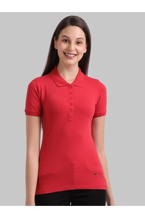 Parx Women Red Solid Polo Collar T-Shirt