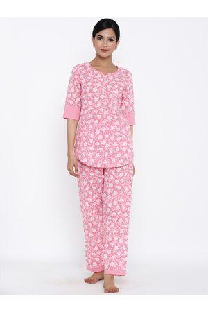 kipek Women Pink & White Floral Printed Night Suit Set