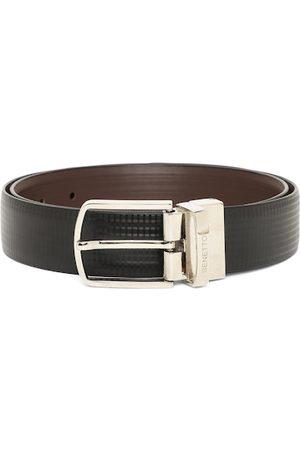 Benetton Men Black & Brown Textured Faux Leather Reversible Belt