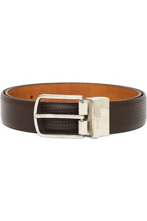 Benetton Men Brown Checked Reversible Belt