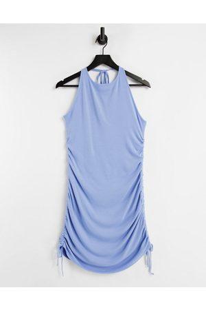 Missyempire Women Halterneck Dresses - Ruched ribbed halterneck mini dress in