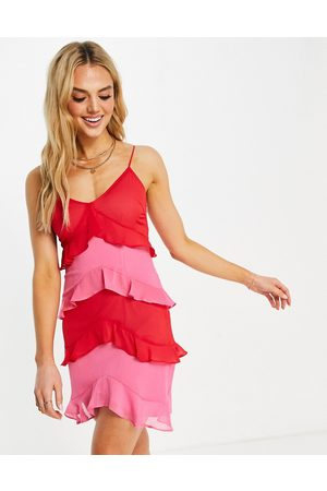 Never Fully Dressed Tiered frill mini dress in pink and red contrast