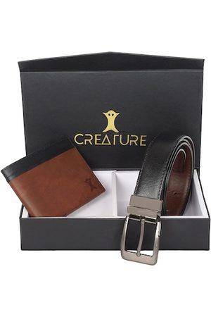 Creature Men Black & Brown Textured Accessory Gift Set