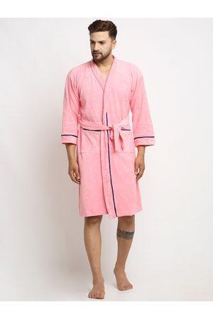 ELEVANTO Men Pink Solid Cotton Bath Robe