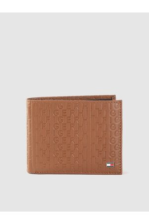 Tommy Hilfiger Men Tan Typography Textured Leather Two Fold Wallet