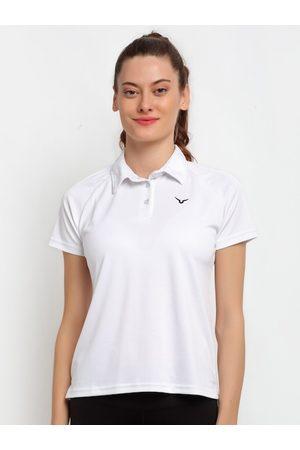 Invincible Women White Polo Collar Slim Fit T-shirt