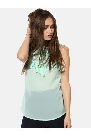 Kazo Green Regular Transparent Lace Ruffle Neck Tie Up Top