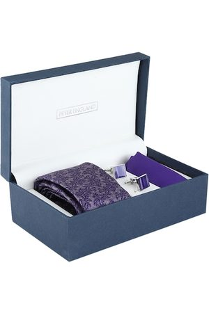 Peter England Men Purple & Silver-Toned Accessory Gift Set