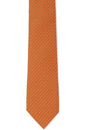 Peter England Men Orange & Black Woven Design Broad Tie
