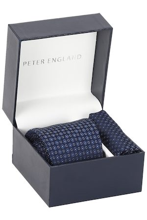 Peter England Men Navy Blue & White Printed Accessory Gift Set
