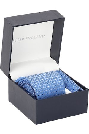 Peter England Men Blue & White Checked Accessory Gift Set