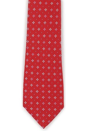 Peter England Men Red & White Woven Design Broad Tie