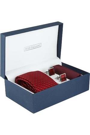 Peter England Men Red & Silver-Toned Patterned Accessory Gift Set