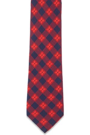 Peter England Men Red & Navy Blue Checked Broad Tie
