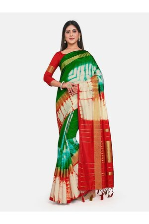 Mimosa Green & Red Tie and Dye Art Silk Banarasi Saree