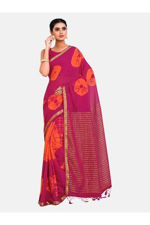 Mimosa Pink & Orange Tie and Dye Zari Half and Half Banarasi Saree