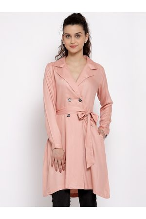 Style Quotient Women Pink Solid Double-Breasted Trench Coat