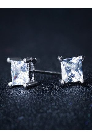 OOMPH Men Silver Toned Square Handcrafted Studs Earrings