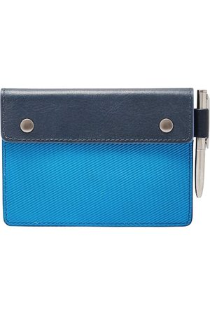 Fossil Men Blue Colourblocked Leather Card Holder with Pen