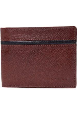 Allen Cooper Men Brown Textured Two Fold Wallet