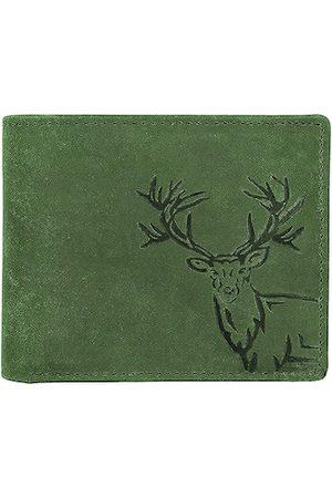 WildHorn Men Green Printed Leather RFID Two Fold Wallet