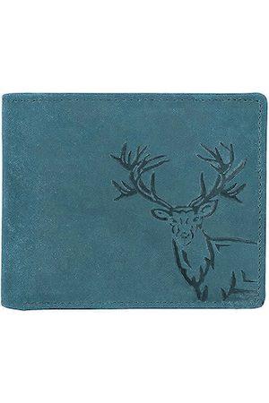WildHorn Men Blue Animal Self Design Leather RFID Two Fold Wallet