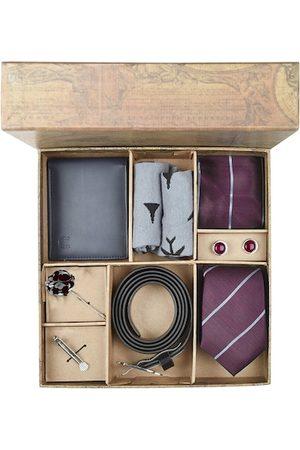Blacksmith Men Maroon & Grey Accessory Gift Set