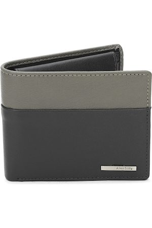 Allen Solly Men Grey Colourblocked Leather Two Fold Lather Wallet
