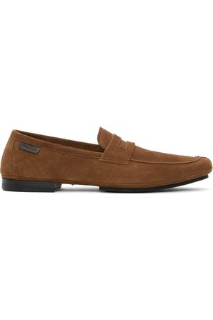TOM FORD Brown Logo Tab Loafers