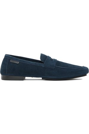 TOM FORD Navy Logo Tab Loafers