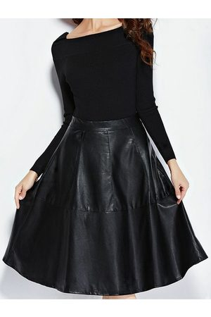 YOINS Women Leather Skirts - Leather Look A-Line Midi Skirt