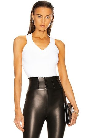 Alaïa Sleeveless Crossed Back Bodysuit in Blanc
