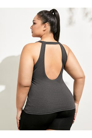 YOINS Plus Size Backless Design Cut Out Sleeveless Tank Top