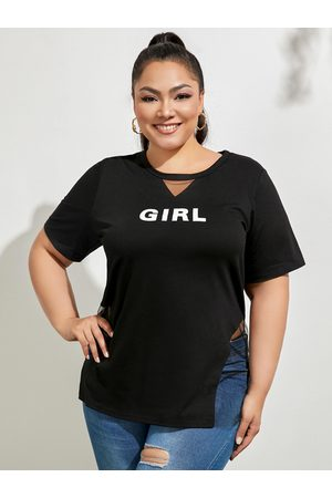 YOINS Plus Size Mesh Letter Cut Out Short Sleeves Tee