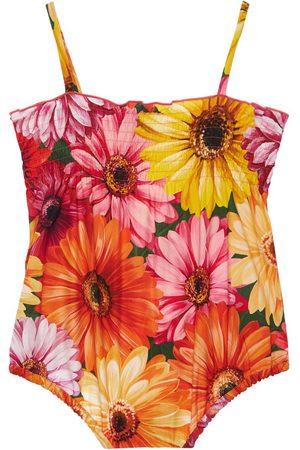 DOLCE & GABBANA Gerbera Print Poplin Cotton Bodysuit