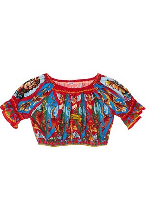 Dolce & Gabbana All Over Print Cotton Cropped Top