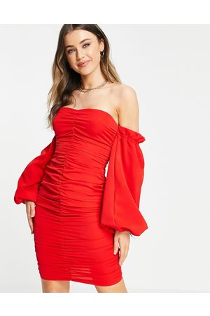 In The Style X Jac Jossa ruched off shoulder mini dress in