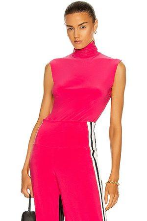 Norma Kamali Slim Fit Sleeveless Turtleneck Top in Rose