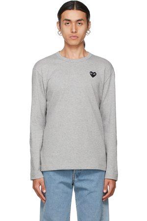 Comme des Garçons Play Grey & Black Heart Patch Long Sleeve T-Shirt