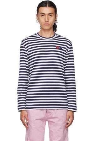Comme des Garçons Play & Navy Double Heart Long Sleeve T-Shirt