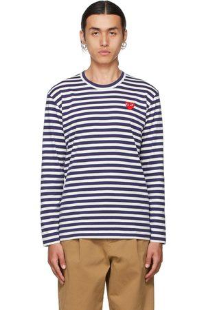 Comme des Garçons Play White & Navy Heart Patch Long Sleeve T-Shirt
