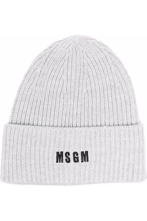 Msgm Ribbed-knit embroidered-logo beanie