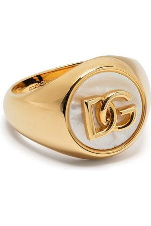 Dolce & Gabbana Logo-plaque pearl-detail ring